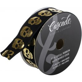 "Cascade Velvet Ribbon W/Wired Edge 1.5""X10Yd Black W/Distressed Gold Foil Skulls - CA103968"