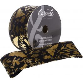"Cascade Velvet Ribbon W/Wired Edge 2.5""X15Yd W/Gold Foil - CA103975"