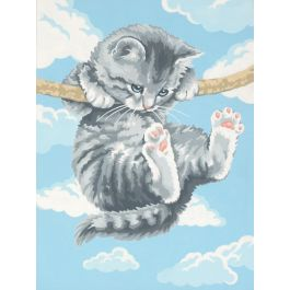"""Paint Works Paint By Number Kit 9""""X12"""" Hang On Kitty - 91226"""