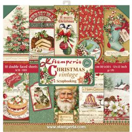 "Stamperia Double Sided Paper Pad 12""X12"" 10/Pkg Christmas Vintage, 10 Designs/1 Each - SBBL45"