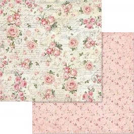 "Stamperia Double Sided Cardstock 12""X12"" Little Roses & Scriptures - SBB579"