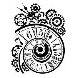 "Stamperia Stencil 7.87""X9.84""-Clock & Mechanisms"
