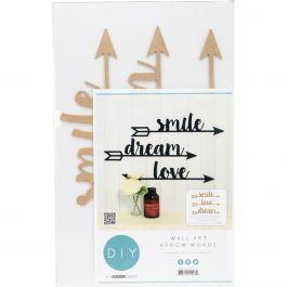 "Kaisercraft Beyond The Page Mdf Arrow Words Wall Art Smile Dream Love, 20.25""X5"" - SB2426"