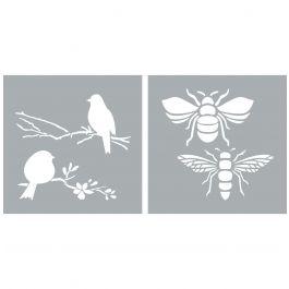 "Americana Decor Stencil 8""X8"" 2/Pkg Bees & Birds - ADS20-204-K"