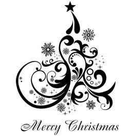 "Indigoblu Cling Mounted Stamp 7""X4.75"" Merry Christmas Tree - CTI"