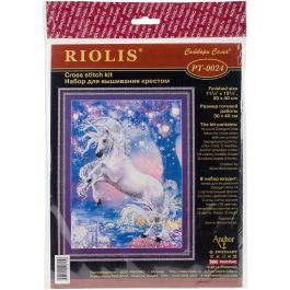 "Riolis Stamped Cross Stitch Kit 11.75""X15.75"" Unicorn (14 Count) - R0024 PT"