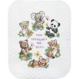 "Dimensions/Baby Hugs Quilt Stamped Cross Stitch Kit 34""X43"" Baby Animals - 73064"