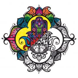 "Adult Coloring Canvas 12""X12"" W/12 Markers Hamsa - 10801-05"