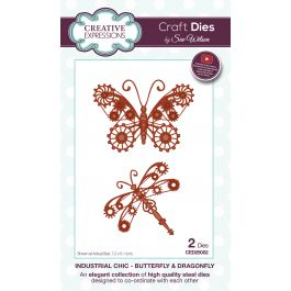 Creative Expressions Craft Dies By Sue Wilson Industrial Chic Butterfly & Dragonfly - CED25002