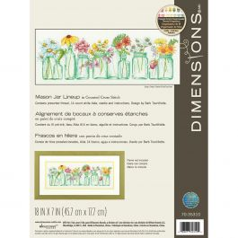 "Dimensions Counted Cross Stitch Kit 18""X7"" Mason Jar Lineup (14 Count) - 70-35310"