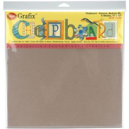 "Grafix Medium Weight Chipboard Sheets 12""X12"" 6/Pkg Natural - CB12126"