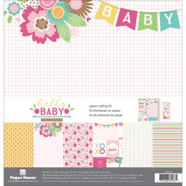 """Paper House Paper Crafting Kit 12""""X12"""" Hello Baby Girl - KTSP1052"""
