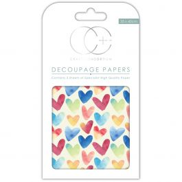"Craft Consortium Decoupage Papers 13.75""X15.75"" 3/Pkg Watercolour Hearts - DECP263"