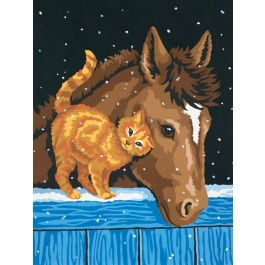 """Paint Works Paint By Number Kit 9""""X12"""" Pony & Kitten - 91305"""