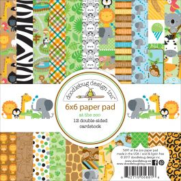 "Doodlebug Double Sided Paper Pad 6""X6"" 24/Pkg At The Zoo, 12 Designs/2 Each - ATZ5691"