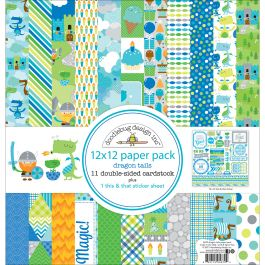 "Doodlebug Double Sided Paper Pack 12""X12"" 12/Pkg Dragon Tails - DRA5679"