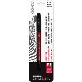 Zebra Zensations Double Ended Fine And Medium Tip Brush Pen Black - 1511