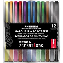 Zebra Zensations Fineliner Pens 12/Pkg 0.8Mm Assorted - 9012