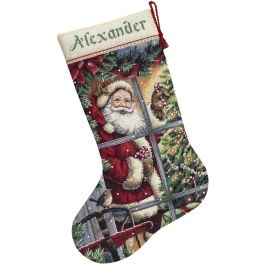"Dimensions Gold Collection Counted Cross Stitch Kit 16"" Long Candy Cane Santa Stocking (16 Count) - 8778"
