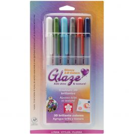 Gelly Roll Glaze Bold Point Pens 6/Pkg Assorted Colors - 38371