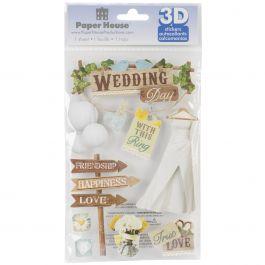 "Paper House 3D Stickers 4.5""X7.5"" Wedding - STDM199E"