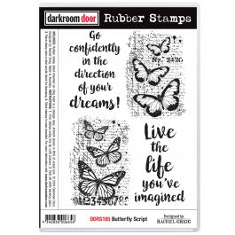 "Darkroom Door Cling Stamps 7.3""X5.1"" Butterfly Script - DDRS185"