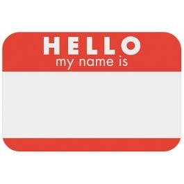 """Self Adhesive Name Tags 2.25""""X3.25"""" 100/Pkg Hello  Red - 45142"""