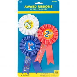 """Award Ribbons 6"""" 3/Pkg 1St, 2Nd & 3Rd Place - 215392"""