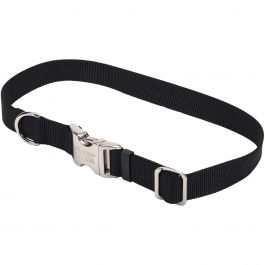 "Adjustable Nylon 1"" Dog Collar With Titan Metal Buckle Black, Neck Size 14"" 20"" - 61962-BLK20"
