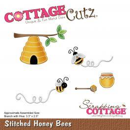 """Cottagecutz Die Stitched Honey Bees 3.3""""X2.5"""" - CC402"""