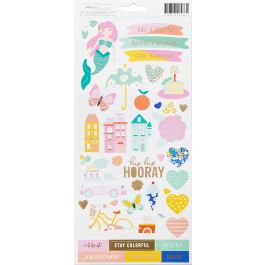 """Dear Lizzy Stay Colorful Cardstock Stickers 6""""X12"""" 2/Pkg Accents & Phrases W/Matte Gold Accents - 346486"""