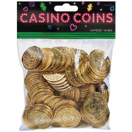 "Casino Coins 1.375"" 144/Pkg Gold W/Vine Border & Dollar Sign - 255572"