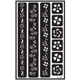 "Over 'N' Over Reusable Stencils 5""X8"" Flower Border - GE21-1603"