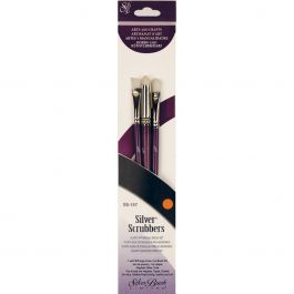Silver Scrubber Stiff Synthetic Brush Set 3/Pkg Angle, Dome & Oval - SS157