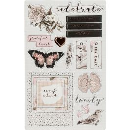 """Amelia Rose Chipboard Stickers 5""""X8"""" 2/Pkg Pink Roses W/Rose Gold Foil Accents - 596675"""