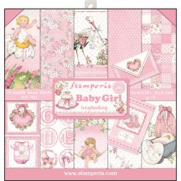 """Stamperia Double Sided Paper Pad 12""""X12"""" 10/Pkg Baby Girl, 10 Designs/1 Each - SBBL41"""