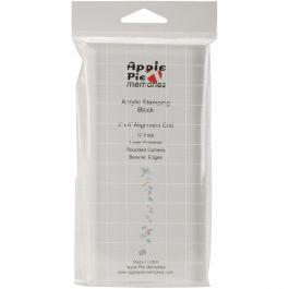 "Apple Pie Memories Acrylic Stamp Block W/Alignment Grid 3""X6""X.5"" - AHCP13"