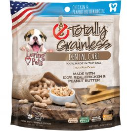 Totally Grainless Dental Bones For Small Dogs 6Oz Chicken & Peanut Butter - LP5305