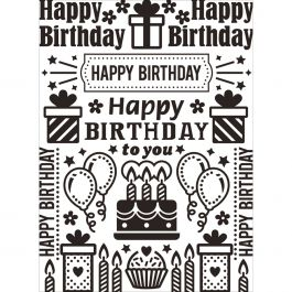"Embossing Folder 4.25""X5.75"" Birthday Collage - EB12-227"