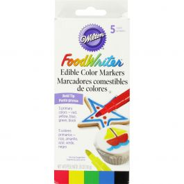 Food Writer Bold Tip Edible Color Markers .35Oz 5/Pkg Primary - W609115R