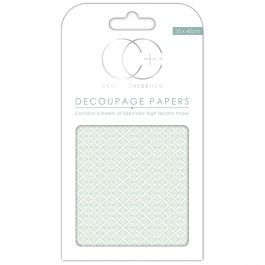 "Craft Consortium Decoupage Papers 13.75""X15.75"" 3/Pkg Ceramic Blue - DECP044"
