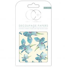 "Craft Consortium Decoupage Papers 13.75""X15.75"" 3/Pkg Blue Iris - DECP031"