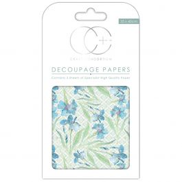 "Craft Consortium Decoupage Papers 13.75""X15.75"" 3/Pkg Blue Daf - DECP043"
