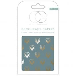 "Craft Consortium Decoupage Papers 13.75""X15.75"" 3/Pkg Metallic Stag Repeat - DECP112"