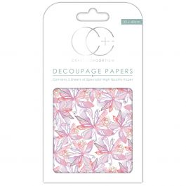 "Craft Consortium Decoupage Papers 13.75""X15.75"" 3/Pkg Floral Notes White - DECP119"