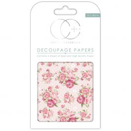 "Craft Consortium Decoupage Papers 13.75""X15.75"" 3/Pkg Pink Rose Polka Dot - DECP125"