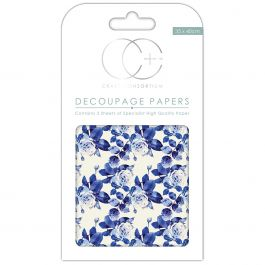 "Craft Consortium Decoupage Papers 13.75""X15.75"" 3/Pkg Floral Porcelain - DECP134"