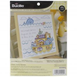 "Bucilla Counted Cross Stitch Kit 10""X13"" Noah'S Ark Birth Record (14 Count) - 45940"
