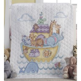 "Bucilla Stamped Crib Cover Cross Stitch Kit 34""X43"" Noah'S Ark - 45939"