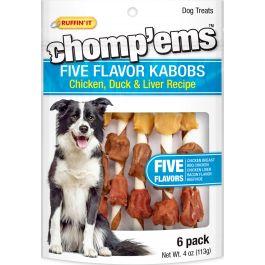 Ruffin' It Chomp'Ems Five Flavor Kabobs 6/Pkg 4Oz Chicken, Duck & Liver - 8252